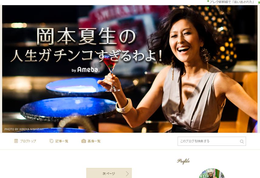 月収300万円を稼いでいた岡本夏生さんのブログ